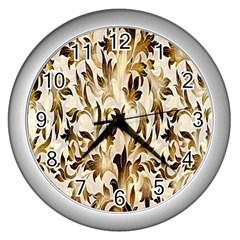 Floral Vintage Pattern Background Wall Clocks (silver)  by Simbadda