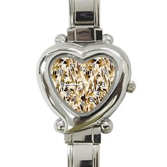 Floral Vintage Pattern Background Heart Italian Charm Watch by Simbadda