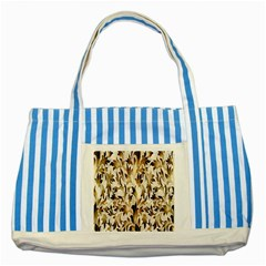 Floral Vintage Pattern Background Striped Blue Tote Bag by Simbadda