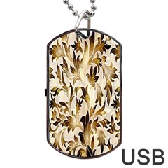 Floral Vintage Pattern Background Dog Tag Usb Flash (two Sides) by Simbadda