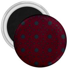 Blue Hot Pink Pattern With Woody Circles 3  Magnets by Simbadda