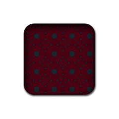 Blue Hot Pink Pattern With Woody Circles Rubber Square Coaster (4 Pack)  by Simbadda