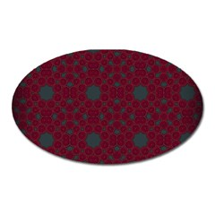 Blue Hot Pink Pattern With Woody Circles Oval Magnet by Simbadda
