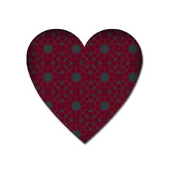 Blue Hot Pink Pattern With Woody Circles Heart Magnet by Simbadda