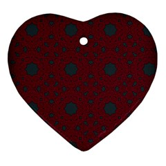 Blue Hot Pink Pattern With Woody Circles Heart Ornament (two Sides) by Simbadda