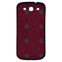 Blue Hot Pink Pattern With Woody Circles Samsung Galaxy S3 S Iii Classic Hardshell Back Case by Simbadda