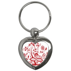 Red Vintage Floral Flowers Decorative Pattern Clipart Key Chains (heart)  by Simbadda