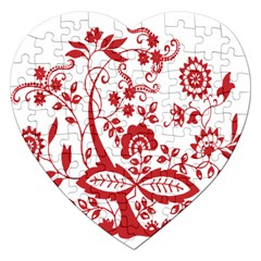 Red Vintage Floral Flowers Decorative Pattern Clipart Jigsaw Puzzle (heart) by Simbadda
