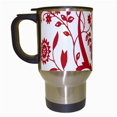 Red Vintage Floral Flowers Decorative Pattern Clipart Travel Mugs (white) by Simbadda