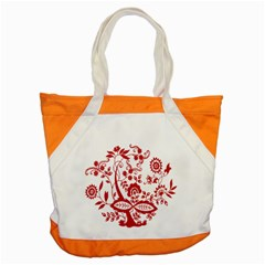 Red Vintage Floral Flowers Decorative Pattern Clipart Accent Tote Bag by Simbadda