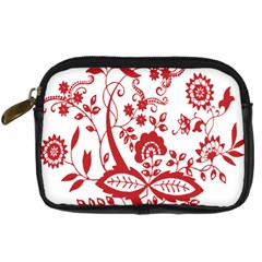 Red Vintage Floral Flowers Decorative Pattern Clipart Digital Camera Cases by Simbadda
