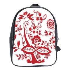 Red Vintage Floral Flowers Decorative Pattern Clipart School Bags(large)  by Simbadda
