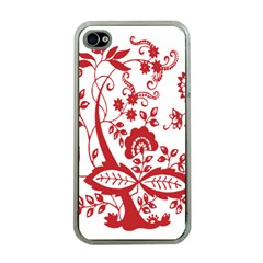 Red Vintage Floral Flowers Decorative Pattern Clipart Apple Iphone 4 Case (clear) by Simbadda