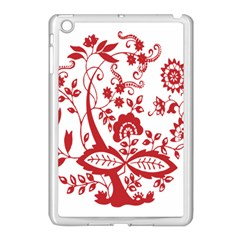 Red Vintage Floral Flowers Decorative Pattern Clipart Apple Ipad Mini Case (white) by Simbadda