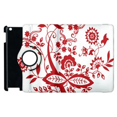 Red Vintage Floral Flowers Decorative Pattern Clipart Apple Ipad 2 Flip 360 Case by Simbadda