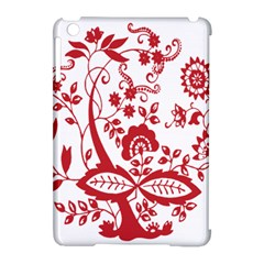 Red Vintage Floral Flowers Decorative Pattern Clipart Apple Ipad Mini Hardshell Case (compatible With Smart Cover) by Simbadda