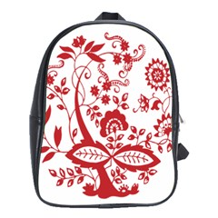 Red Vintage Floral Flowers Decorative Pattern Clipart School Bags (xl)  by Simbadda