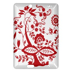 Red Vintage Floral Flowers Decorative Pattern Clipart Amazon Kindle Fire Hd (2013) Hardshell Case by Simbadda