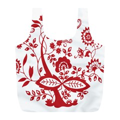 Red Vintage Floral Flowers Decorative Pattern Clipart Full Print Recycle Bags (l)  by Simbadda