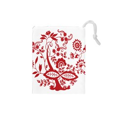 Red Vintage Floral Flowers Decorative Pattern Clipart Drawstring Pouches (small)  by Simbadda