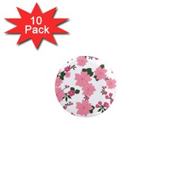 Vintage Floral Wallpaper Background In Shades Of Pink 1  Mini Magnet (10 Pack)  by Simbadda