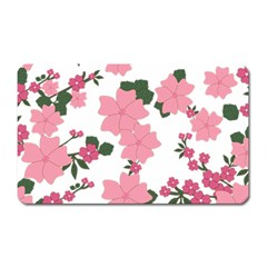 Vintage Floral Wallpaper Background In Shades Of Pink Magnet (rectangular) by Simbadda