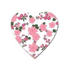 Vintage Floral Wallpaper Background In Shades Of Pink Heart Magnet by Simbadda