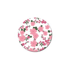 Vintage Floral Wallpaper Background In Shades Of Pink Golf Ball Marker by Simbadda
