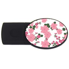 Vintage Floral Wallpaper Background In Shades Of Pink Usb Flash Drive Oval (2 Gb) by Simbadda