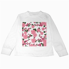 Vintage Floral Wallpaper Background In Shades Of Pink Kids Long Sleeve T Shirts by Simbadda