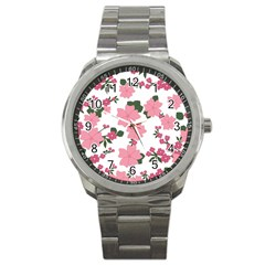 Vintage Floral Wallpaper Background In Shades Of Pink Sport Metal Watch by Simbadda