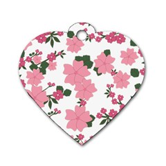 Vintage Floral Wallpaper Background In Shades Of Pink Dog Tag Heart (one Side) by Simbadda