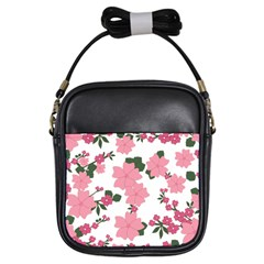 Vintage Floral Wallpaper Background In Shades Of Pink Girls Sling Bags by Simbadda