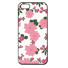 Vintage Floral Wallpaper Background In Shades Of Pink Apple Iphone 5 Seamless Case (black) by Simbadda