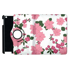 Vintage Floral Wallpaper Background In Shades Of Pink Apple Ipad 2 Flip 360 Case by Simbadda