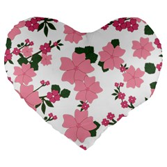 Vintage Floral Wallpaper Background In Shades Of Pink Large 19  Premium Heart Shape Cushions by Simbadda
