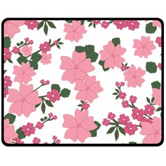 Vintage Floral Wallpaper Background In Shades Of Pink Double Sided Fleece Blanket (medium)  by Simbadda