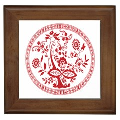 Red Vintage Floral Flowers Decorative Pattern Framed Tiles by Simbadda