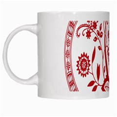 Red Vintage Floral Flowers Decorative Pattern White Mugs by Simbadda