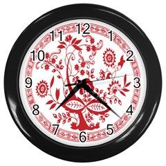 Red Vintage Floral Flowers Decorative Pattern Wall Clocks (black) by Simbadda