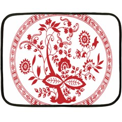 Red Vintage Floral Flowers Decorative Pattern Double Sided Fleece Blanket (mini)  by Simbadda