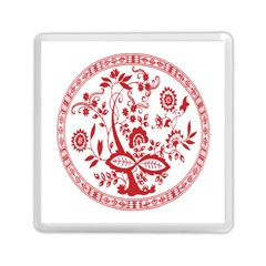 Red Vintage Floral Flowers Decorative Pattern Memory Card Reader (square)  by Simbadda