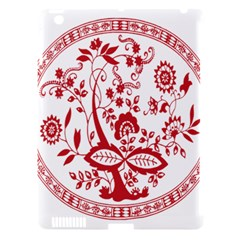 Red Vintage Floral Flowers Decorative Pattern Apple Ipad 3/4 Hardshell Case (compatible With Smart Cover) by Simbadda