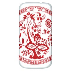 Red Vintage Floral Flowers Decorative Pattern Samsung Galaxy S3 S Iii Classic Hardshell Back Case by Simbadda