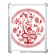 Red Vintage Floral Flowers Decorative Pattern Apple Ipad 3/4 Case (white) by Simbadda