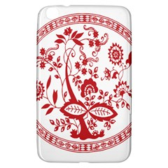 Red Vintage Floral Flowers Decorative Pattern Samsung Galaxy Tab 3 (8 ) T3100 Hardshell Case