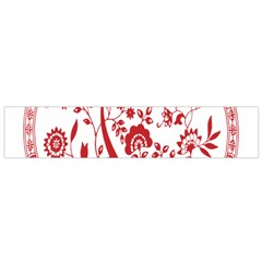 Red Vintage Floral Flowers Decorative Pattern Flano Scarf (small) by Simbadda