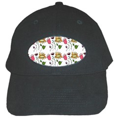 Handmade Pattern With Crazy Flowers Black Cap by Simbadda