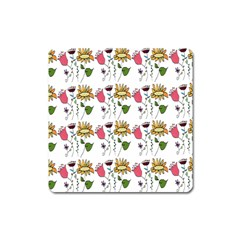 Handmade Pattern With Crazy Flowers Square Magnet by Simbadda