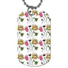 Handmade Pattern With Crazy Flowers Dog Tag (one Side) by Simbadda